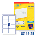Avery QuickDRY Inkjet Address Labels 8 per Sheet 99.1x67.7mm White J8165-25 [200 Labels]