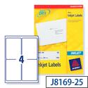 Avery QuickDRY Inkjet Address Labels 4 per Sheet 139 x 99.1mm White J8169-25 [100 Labels]
