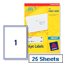 [LINKED TO  VOW AVJ8167] Avery QuickDRY Inkjet Address Labels 1 per Sheet 199.6 x 289.1mm White J8167-25 [25 Labels]