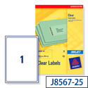 Avery J8567-25 Clear Address Labels 1 per Sheet 210 x 297mm 25 Labels