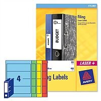 Avery Lever Arch Filing Labels Laser L7171A-20 200x60mm Assorted 80 Labels
