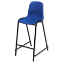 Trexus High Stool Polypropylene with Back H340mm Seat W520xD580xH610mm Blue