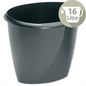 Office Desk Bin Black Polypropylene 16 Litres D298xH314mm 5 Star