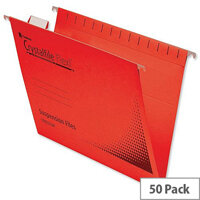 Rexel Crystalfile Flexifile Foolscap Suspension File Red Pack 50