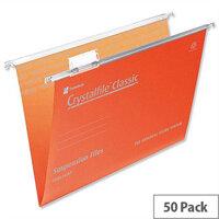 Rexel Crystalfile Foolscap Suspension File Orange V-base 15mm Pack 50