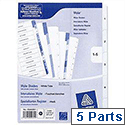 Avery 1-5 A4 Index Multipunched White