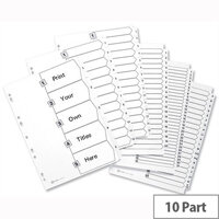 Avery 1-10 A4 Index White Subject Dividers Multipunched