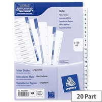 Avery 1-20 Unpunched Index White A4 Pack 5