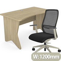 Home Office Medici Desk W1200xD700mm 25mm Desktop & Legs Urban Oak & NV Posture Office Chair with Contoured Mesh Back and Adjustable Lumbar Support Lime White Frame Black Seat