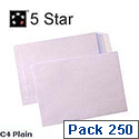 C4 White Envelopes Pocket Peel and Seal 100gsm Pack 250 5 Star Ref 906632