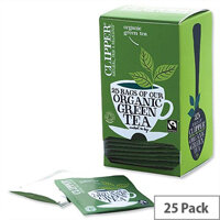 Clipper Organic Green Tea Fairtrade Light and Refreshing Teabags Pack 25