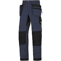 "Snickers 6206 LiteWork 37.5 Trousers Plus Holster Pockets Navy - Black W30"" L30"" Size 88 WW1"
