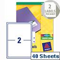 Avery L7768-40 Address Labels Colour Laser 2 per Sheet 199.6 x 143.5mm 80 Labels