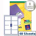 Avery L7765-40 Address Labels Colour Laser 8 per Sheet 99.1x67.7mm 320 Labels