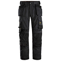 """Snickers 6251 AllroundWork Stretch Loose Fit Work Trousers With Holster Pockets Size 160 (W: 44""""/L: 35"""") Black"""