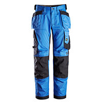 """Snickers 6251 AllroundWork Stretch Loose Fit Work Trousers With Holster Pockets Size 124 (W: 47""""/L: 30"""") True Blue & Black"""