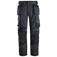 """Snickers 6251 AllroundWork Stretch Loose Fit Work Trousers With Holster Pockets Size 152 (W: 36""""/L: 35"""") Steel Grey & Black"""