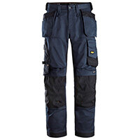 """Snickers 6251 AllroundWork Stretch Loose Fit Work Trousers With Holster Pockets Size 158 (W: 41""""/L: 35"""") Navy & Black"""