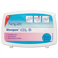 Nexcare Micropore First Aid Tape 25mmx5m Surgical Tape Dispenser Pack of 6