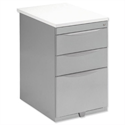 Pedestal Steel Desk-High Wood Top 3-Drawer White Bisley