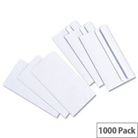 White Box DL Envelopes Wallet White Press Seal (Pack of 1000)