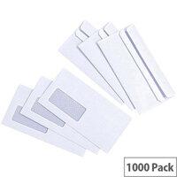 5 Star Value White DL Window Envelopes Self Seal Wallet 80gsm Pack of 1000