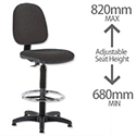 High Rise Draughtsman Office Chair Charcoal Trexus