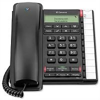 BT Converse 2300 Telephone Answering Machine - Voicemail - Caller Display - 10 Redial 100-entry - Secrecy/Mute Button - Black