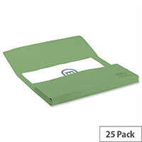 Elba Strongline Foolscap Bright Manilla Document Wallet Half-Flap Heavyweight 320gsm 32mm Green Pack of 25