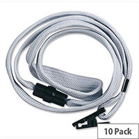 Durable Lanyard with Safety Closure for Name Badges 440mm Grey Pack 10