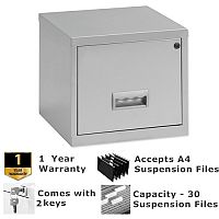 Pierre Henry A4 1 Drawer Steel Filing Cabinet Cube Lockable Silver