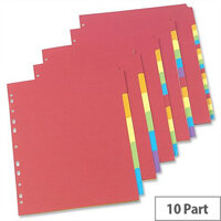 Concord 10 Part Bright Subject Dividers A4 Assorted