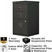 1 Filing & 2 Stationery Drawer A4 Steel Filing Cabinet Lockable Black Bisley PFA Home Filers