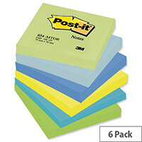 Post-it Colour Notes Pad 76x76mm of 100 Sheets Cool Neon Rainbow Pack 6