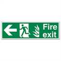 Man Arrow Left Luminescent Fire Exit Sign Standard And Glow In The Dark SP078PVC