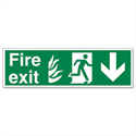 Man Arrow Down Fire Exit Sign Standard And Luminescent SP0801PLV