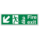 Man Arrow Down Left Fire Exit Sign Standard Luminescent SP082PVC