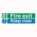 Fire Exit Keep Clear Self Adhesive Sign Standard And Glow In The Dark SP055PVC