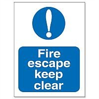 Stewart Superior Fire Escape Keep Clear Self Adhesive Sign