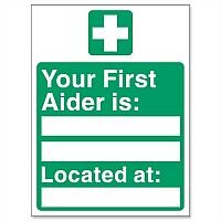 First Aider Location Self Adhesive Sign 150x200mm Stewart Superior