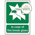 In Case Of Fire Break Glass Self Adhesive Safety Sign Stewart Superior