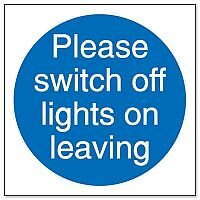 Stewart Superior Please Switch Off Lights Self Adhesive Sign Pack of 5