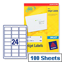 Avery J8159-100 Address Labels Inkjet 24 per Sheet 63.5 x 33.9mm White 2400 Labels