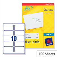 Avery Quickdry Inkjet Label 10 Per Sheet (Pack of 100)