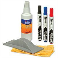 Nobo Whiteboard Kit Eraser and Cleaner and 3 Drywipe markers Assorted