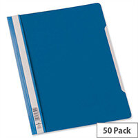 Durable A4 Clear View Folder Plastic with Index Strip Extra Wide Blue Pack 50