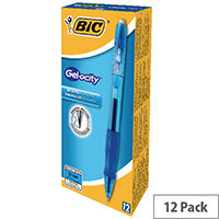 Bic Velocity Retractable Ballpoint Pen Blue Cushioned Grip Pack 12