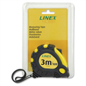 Linex Measuring Tape with Hook and Non-slip Surface Metric and Imperial with Belt Clip 3m Ref Lxemt3000 710986