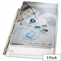 Leitz Expanding Pocket Gusseted A4 Multipunched Clear Pack 3