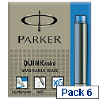 Parker Quink Mini Ink Refills Blue S0767240 Pack 6